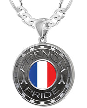 French Necklace For Men With Flag - 5.2mm Figaro Chain