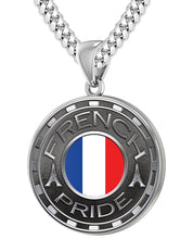 French Necklace For Men With Flag - 5.6mm Cuban Chain