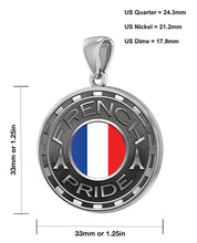 French Necklace For Men With Flag - Size Description
