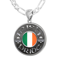 Men's 925 Sterling Silver Irish Pride Medal Pendant Necklace with Flag