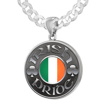 Men's 925 Sterling Silver Irish Pride Medal Pendant Necklace with Flag, 25mm