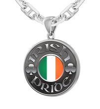 Men's Sterling Silver Irish Pride Medal Pendant Necklace