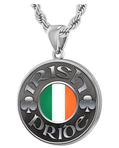 Men's 925 Sterling Silver Irish Pride Medal Pendant Necklace with Flag, 33mm