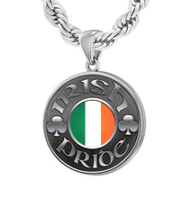Men's 925 Sterling Silver Irish Pride Medal Pendant Necklace Rope Chain