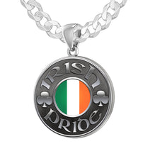 Sterling Silver Irish Pride Medal Pendant Necklace with Flag