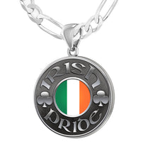 Men's 925 Sterling Silver Irish Pride Medal Pendant Necklace