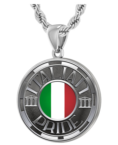 Men's 925 Sterling Silver Italian Pride Medal Pendant Necklace with Flag, 33mm