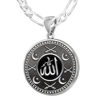 Men's 925 Sterling Silver Islamic Religious Pride Medal Pendant Necklace, 25mm