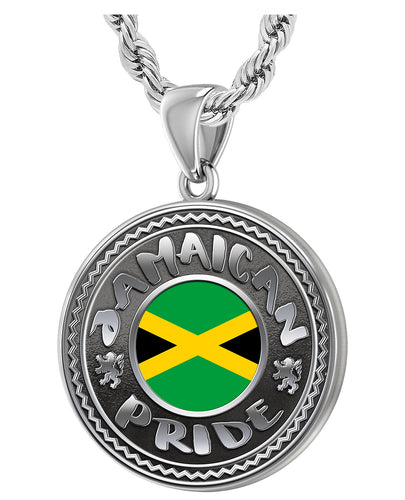 Men's 925 Sterling Silver Jamaican Pride Medal Pendant Necklace with Flag, 33mm