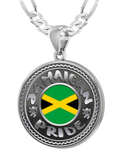Jamaican Necklace With Flag For Men - 4mm Figaro Chain