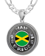 Jamaican Necklace With Flag For Men - 5.2mm Figaro Chain