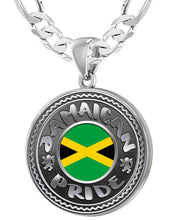 Jamaican Necklace With Flag For Men - 6mm Figaro Chain