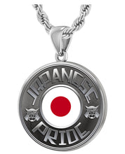 Japanese Necklace In Silver With Flag - 3mm Rope Chain