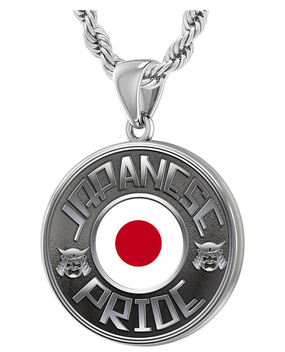 Men's 925 Sterling Silver Japanese Pride Medal Pendant Necklace with Flag, 33mm