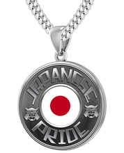 Japanese Necklace In Silver With Flag - 4.1mm Cuban Chain