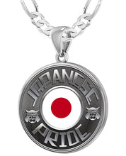 Japanese Necklace In Silver With Flag - 4mm Figaro Chain