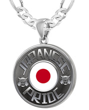Japanese Necklace In Silver With Flag - 5.2mm Figaro Chain