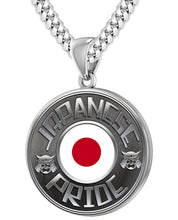 Japanese Necklace In Silver With Flag - 5.6mm Cuban Chain