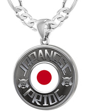 Japanese Necklace In Silver With Flag - 6mm Figaro Chain
