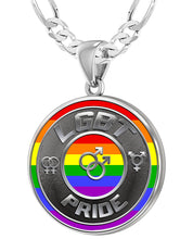 LGBT Necklace Of Silver Crafted For Men - 4mm Figaro Chain
