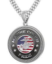 Men's 925 Sterling Silver Marine Corps Pride Medal Pendant Necklace, 33mm