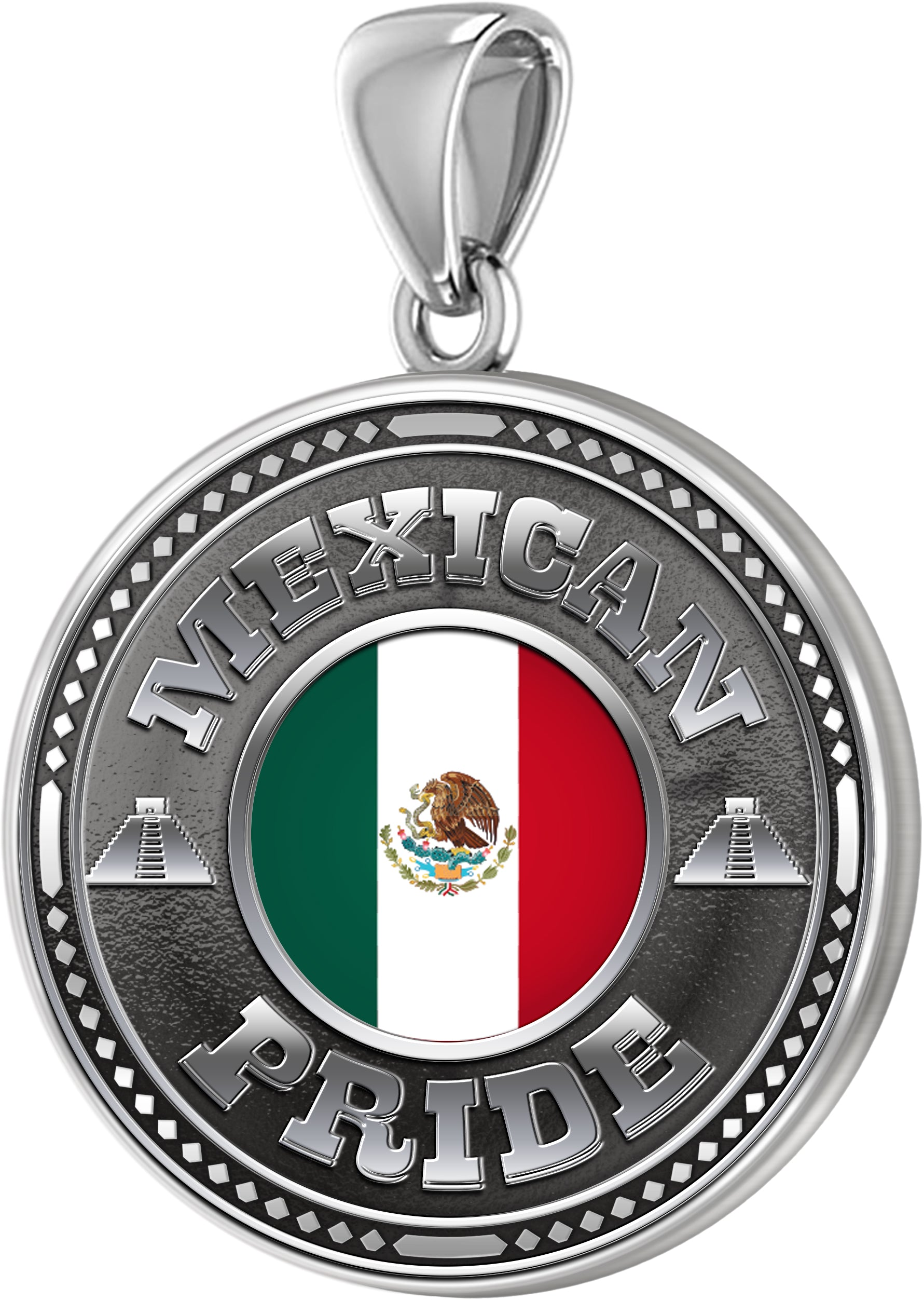 Sterling Silver Mexican Pride Medal Pendant with Flag