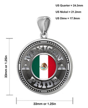 Men's 925 Sterling Silver Mexican Pride Medal Pendant Necklace with Flag, 33mm