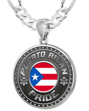 Men's 925 Sterling Silver Puerto Rican Pride Medal Pendant Necklace with Flag, 33mm