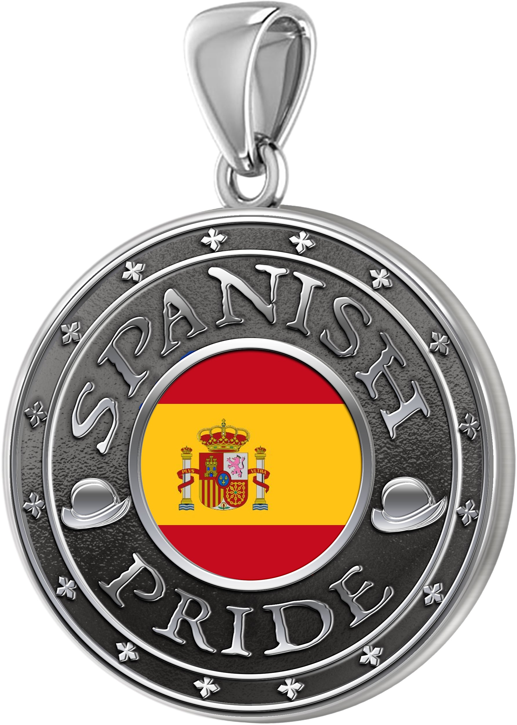 Spanish Necklace In Silver With Flag - Pendant Only