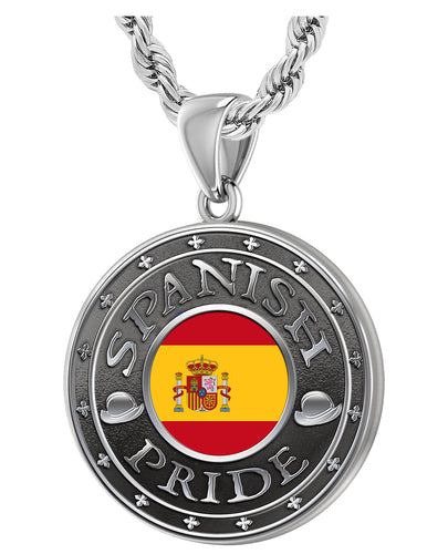 Men's 925 Sterling Silver Spanish Pride Medal Pendant Necklace with Flag, 33mm