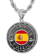 Spanish Necklace In Silver With Flag - 4.4mm Rope Chain