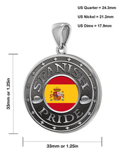 Spanish Necklace In Silver With Flag - Sizing Details