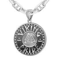 Men's Silver Viking Pride Medal Pendant Necklace, 25mm