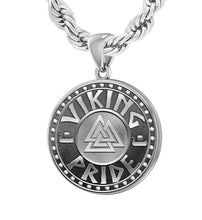 Sterling Silver Viking Pride Medal Pendant Necklace Rope Chain