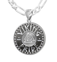 925 Sterling Silver Viking Pride Medal Pendant Necklace, 25mm