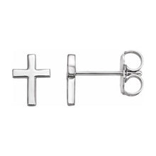 Cross Stud Earrings Pair In Sterling Silver - Side View