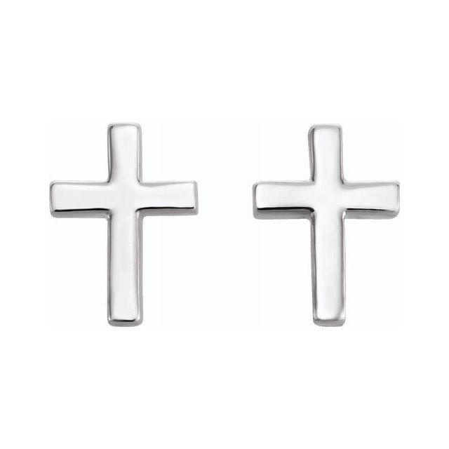 Cross Stud Earrings - Sterling Silver Earrings Pair