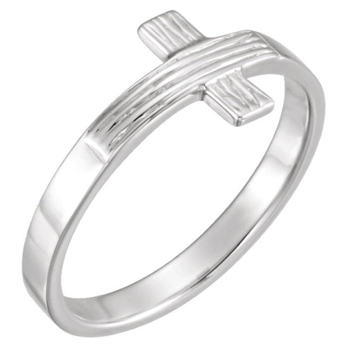 Cross Ring With Rugged Cross For Women - Silver
