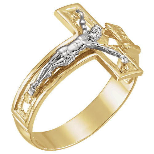 Catholic Ring In Yellow & White Gold - Front View