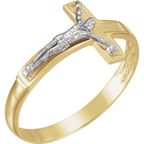 Catholic Ring Men's Two Tone Gold - Top View
