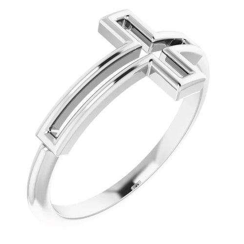 Ladies 0.925 Sterling Silver Cross Religious Christian Band Ring