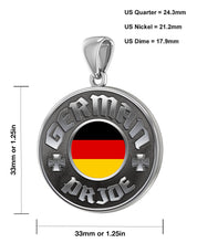 Men's 925 Sterling Silver German Pride Medal Pendant Necklace with Flag, 33mm