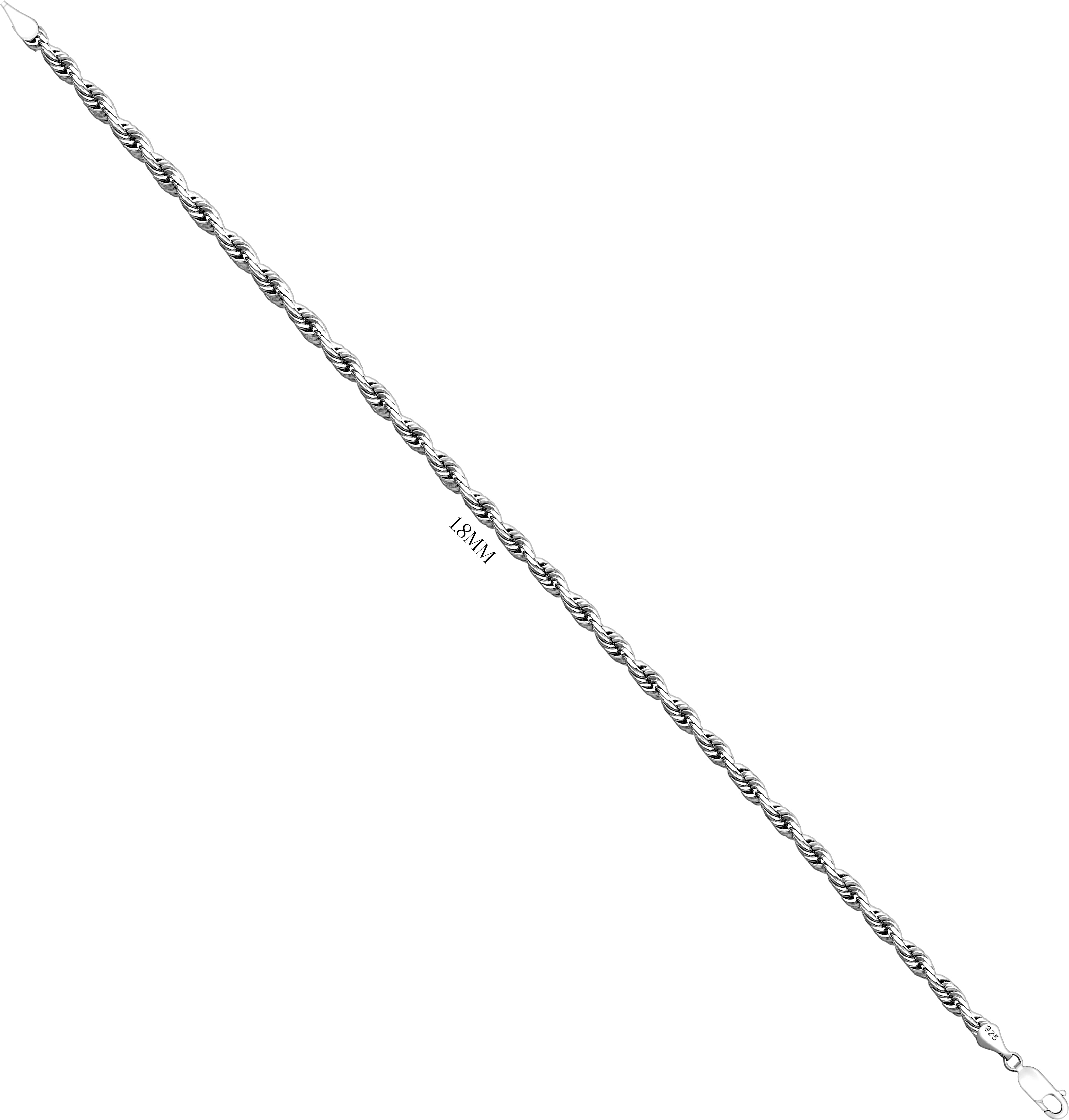 Diamond Cut Rope Chain Necklace, Sizes 1.8mm - 5.2mm