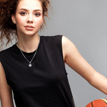 Ladies Small 925 Sterling Silver Textured Basketball Sports Pendant Necklace, 13mm