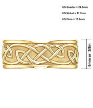 9mm Yellow Gold Irish Celtic Knotwork Band - Top View