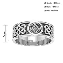 Master Mason Ring Band In Celtic Design - Size Details