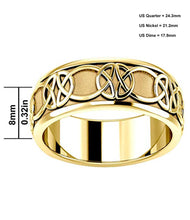 8mm Gold Irish Celtic Knot Wedding Spinner Band - Top View