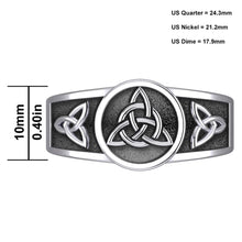 Men's 10mm Silver Irish Celtic Triquetra Knot Ring Band