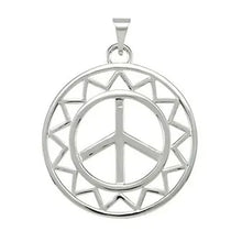 Peace Sign Pendant - Sterling Silver Pendant In Sun Shape