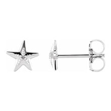 Stud Earrings With Starfish Design In White Gold - Side View